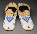 American Indian Art:Beadwork and Quillwork, A Pair of Cheyenne Beaded Hide Moccasins P...