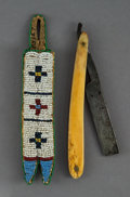American Indian Art:Beadwork and Quillwork, A Plains Beaded Hide Pouch w/ Razor...