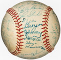 Autographs:Baseballs, 1956 Milwaukee Braves Team Signed Baseball (25 Signatures)....
