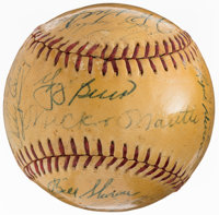 1958 New York Yankees Team Signed Baseball - World Series Champions (25 Signatures)