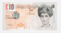 Banksy X Banksy of England Di-Faced Tenner, 10 GBP Note, 2005 Offset lithograph in colors on paper 3 x 5-5/8 inches (