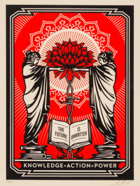 Shepard Fairey (b. 1970) Knowledge + Action, 2018 Screenprint in colors on speckled cream paper 24 x 18 inches (61 x