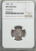 Bust Dimes, 1834 10C Small 4 -- Cleaned -- NGC Details. Unc. NGC Census: (1/144). PCGS Population: (4/84). MS60. Mintage 635,000....