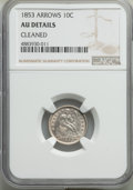 Seated Dimes, 1853 10C Arrows -- Cleaned -- NGC Details. AU. This lot also include a: 1874 10C Arrows -- Cleaned -- NGC Details. AU.... (Total: 2 coins)