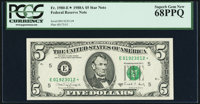 Fr. 1980-E* $5 1988A Federal Reserve Star Note. PCGS Superb Gem New 68PPQ