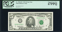 Fr. 1982-B* $5 1993 Federal Reserve Star Note. PCGS Superb Gem New 67PPQ