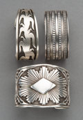 American Indian Art:Jewelry and Silverwork, Three Southwest Cuff Bracelets. ... (Total: 3 Items)