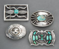 American Indian Art:Jewelry and Silverwork, Four Southwest Belt Buckles. c. 1950 - 1970... (Total: 4 Items)