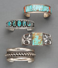 American Indian Art:Jewelry and Silverwork, Four Southwest Bracelets. c. 1950 - 1980... (Total: 4 Items)