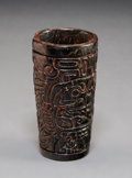 "Pre-Columbian:Stone, An Important Maya Carved Stone ""Poison"" Vessel. c. 300-700 AD..."