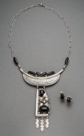 American Indian Art:Jewelry and Silverwork, A Navajo Necklace with Matching Earrings... (Total: 3 Items)