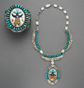 American Indian Art:Jewelry and Silverwork, A Large Zuni Bracelet with Matching Necklace... (Total: 2 Items)