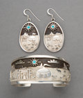 American Indian Art:Jewelry and Silverwork, A Navajo Cuff Bracelet with Pair of Matching Earrings... (Total: 3 Items)