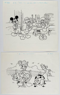 Andersen's Fairy Tale on Grenada Stamps Featuring Donald Duck and Mickey Mouse Original Art Group of 4 (c. 1987).... (To...