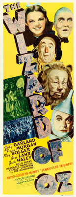 "The Wizard of Oz (MGM, 1939). Very Good/Fine on Paper. Insert (14"" X 36""). Al Hirschfeld Title Artwork"