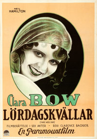 "Three Week Ends (Paramount, 1928). Folded, Very Fine. Swedish One Sheet (27.5"" X 39.5"")"