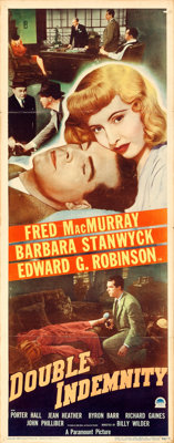 """Double Indemnity (Paramount, 1944). Folded, Fine/Very Fine. Insert (14"""" X 36"""")"""