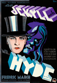 """Dr. Jekyll and Mr. Hyde (Paramount, 1932). Folded, Very Fine+. Swedish Full-Bleed One Sheet (27"""" X 39.5""""). Gos..."""