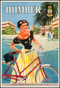 """Humber Bicycles (Rayleigh Industries, 1950s). Very Fine- on Linen. British Advertising Double Crown (21"""" X 30.5&quo..."""