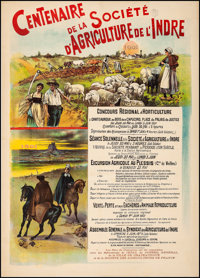 """Indre Agricultural Society (1901). Fine/Very Fine on Linen. French Advertising Poster (29.75"""" X 41.5""""). Miscel..."""