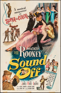 """Sound Off & Other Lot (Columbia, 1952). Folded, Fine+. One Sheets (2) (27"""" X 41""""), Partial Lobby Card (10..."""