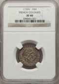 1739-V SOU M French Colonies Sou Marque XF40 NGC. NGC Census: (1/1). PCGS Population: (0/9)