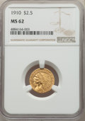 Indian Quarter Eagles: , 1910 $2 1/2 MS62 NGC. NGC Census: (3051/2416). PCGS Population: (1288/1485). MS62. Mintage 492,000. ...