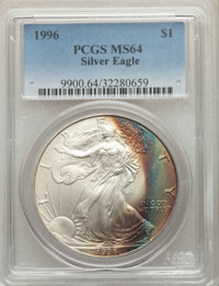 1996 $1 Silver Eagle MS64 PCGS. PCGS Population: (140/13321). NGC Census: (114/117825). Mintage 3,603,386. ...(PCGS# 990...