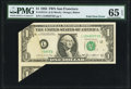 Error Notes:Foldovers, Foldover Error Fr. 1913-L $1 1985 Federal Reserve Note. PMG GemUncirculated 65 EPQ.. ...