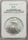 Modern Bullion Coins, 1995 $1 Silver Eagle MS70 NGC. NGC Census: (747). PCGS Population: (64). Mintage 4,672,051. ...
