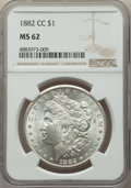 Morgan Dollars: , 1882-CC $1 MS62 NGC. NGC Census: (1917/15463). PCGS Population: (3021/30757). CDN: $210 Whsle. Bid for problem-free NGC/PCG...