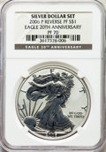 2006-P $1 Silver Eagle, 20th Anniversary, Reverse Proof, PR70 NGC. NGC Census: (11337). PCGS Population: (3130). Mintage...