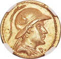 Ancients:Greek, Ancients: BACTRIAN KINGDOM. Eucratides I the Great (ca. 170-145 BC). AV stater (20mm, 8.47 gm, 11h). NGC Choice AU 5/5 - 4/5....