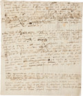 Books:Science & Technology, Sir Isaac Newton. Autograph Manuscript, Notes on Physics and Solid Geometry, with Two Diagrams. In Latin. [Oxfor...