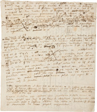 Sir Isaac Newton. Autograph Manuscript, Notes on Physics and Solid Geometry, with Two Diagrams<
