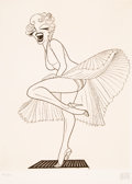 Prints & Multiples:Print, Al Hirschfeld (American, 1903-2003). Marilyn Monroe in the Seven Year Itch, 1983. Etching on wove paper. 20-1/2 x 15 inc...