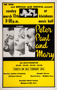 Peter, Paul & Mary 1963 Buffalo, NY Concert Poster in Their Biggest Year