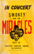 Music Memorabilia:Posters, Smokey Robinson & The Miracles Vintage Seattle Concert Poster.. ...