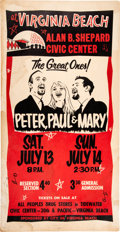 Music Memorabilia:Posters, Peter, Paul & Mary Unusual 1968 Concert Poster from Virginia Beach, VA.. ...