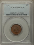 Indian Cents: , 1894 1C MS63 Brown PCGS. PCGS Population: (115/128). NGC Census: (81/151). CDN: $90 Whsle. Bid for problem-free NGC/PCGS MS...