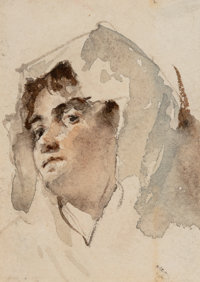 Italian School (19th Century) Group of Four Drawings Watercolor on paper, each 4-1/4 x 3-1/4 inch... (Total: 4)