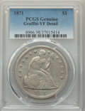 Seated Dollars, 1871 $1 -- Graffiti-- PCGS Genuine. VF Details. NGC Census: (31/757). PCGS Population: (37/1197). VF20. Mintage 1,074,760....