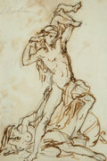 """19th Century European, Lorenzo Bartolini (Italian, 1777-1850). Study for the""""Astyanax"""". Ink and pencil on paper. 11-1/4 x 7-1/2 inches(28.6 x..."""
