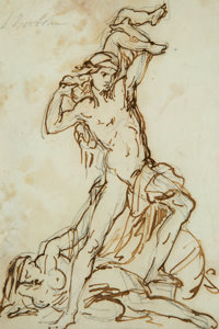 """Lorenzo Bartolini (Italian, 1777-1850) Study for the """"Astyanax"""" Ink and Pencil on paper 11-1/4 x"""