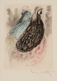 Louis Icart (French, 1888-1950) Group of Four Works Etching in colors on paper, each 7-1/2 x 5-1/2 inches (19.1 x 14...