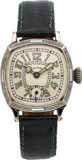 Timepieces:Wristwatch, Illinois Cushion Generic, White Gold Filled, Manual Wind, ...