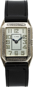 Timepieces:Wristwatch, Illinois Tuxedo, 14K White Gold, Manual Wind, Circa 1931. ...