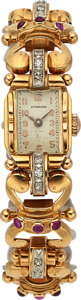 Timepieces:Wristwatch, Swiss 18k Gold Diamond & Ruby Lady's Wristwatch. ...