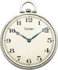 Timepieces:Pocket (post 1900), Cartier Platinum Watch E.W. & C. Co. Movement. ...