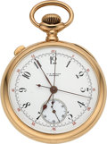 Timepieces:Pocket (post 1900), C.H. Meylan Gold Split Second Chronograph. ...